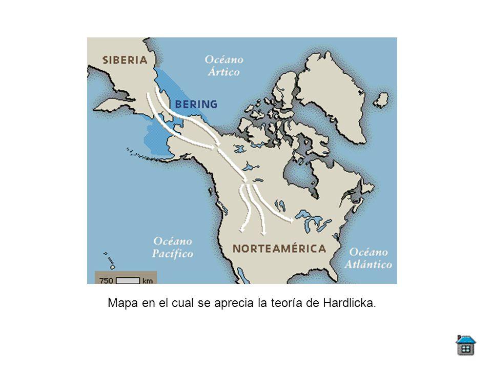 Mapa en el cual se aprecia la teoría de Hardlicka.
