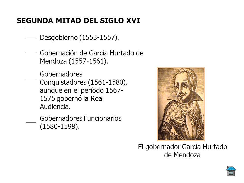 SEGUNDA MITAD DEL SIGLO XVI Desgobierno (1553-1557). Gobernación de García Hurtado de Mendoza (1557-1561). Gobernadores Conquistadores (1561-1580), au