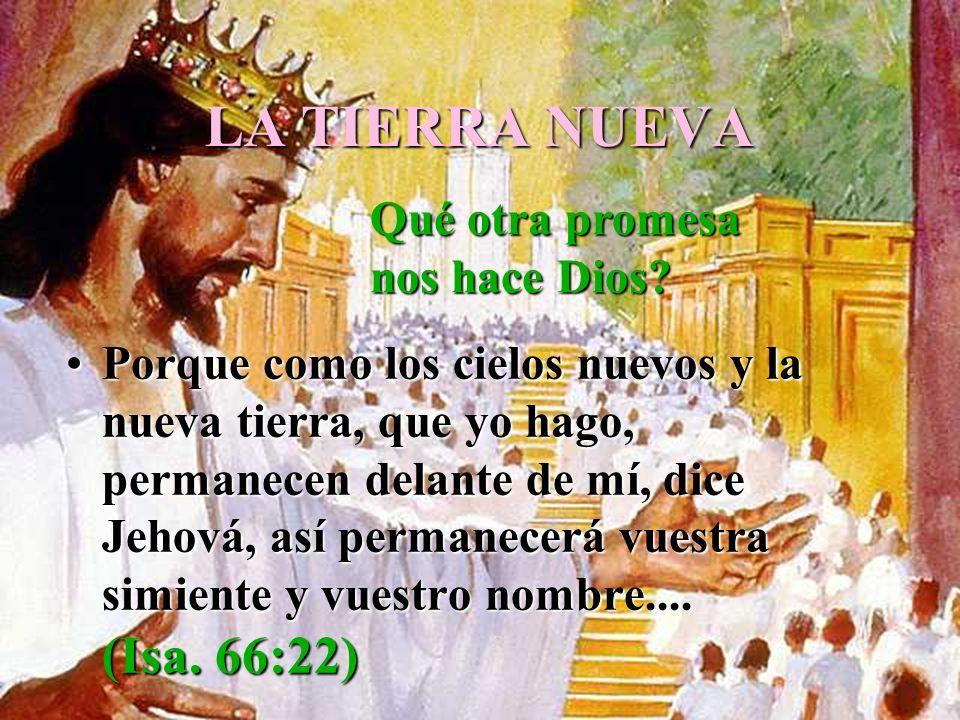 LA TIERRA NUEVA Porque como los cielos nuevos y la nueva tierra, que yo hago, permanecen delante de mí, dice Jehová, así permanecerá vuestra simiente