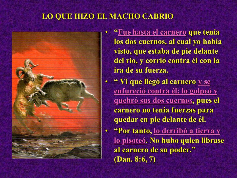El macho cabrío es el rey de GRECIA.El macho cabrío es el rey de GRECIA. Y el cuerno grande que tenía entre sus ojos es el primer rey. (Dan. 8:21) Y e