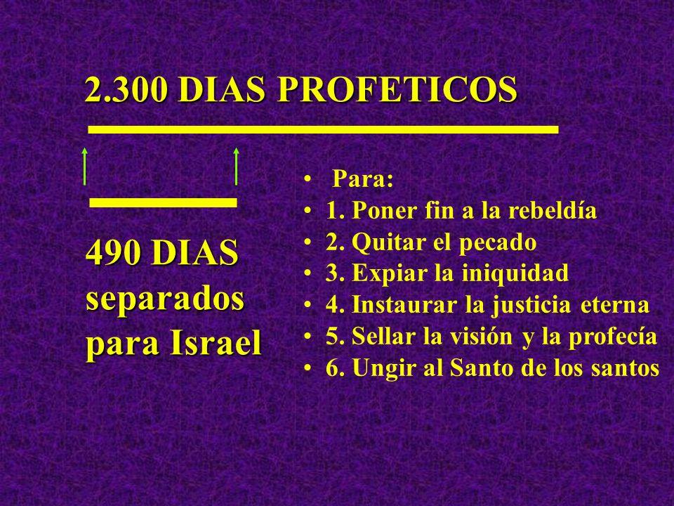 2.300 DIAS PROFETICOS 490 DIAS separados para Israel Y PARA QUE SERIAN SEPARADOS ESTOS DIAS PROFETICOS?