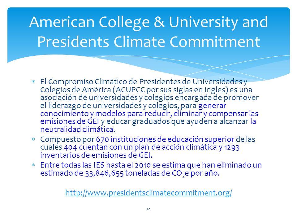 El Compromiso Climático de Presidentes de Universidades y Colegios de América (ACUPCC por sus siglas en ingles) es una asociación de universidades y c