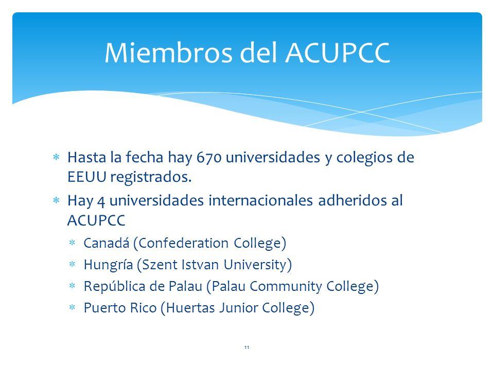 Hasta la fecha hay 670 universidades y colegios de EEUU registrados. Hay 4 universidades internacionales adheridos al ACUPCC Canadá (Confederation Col