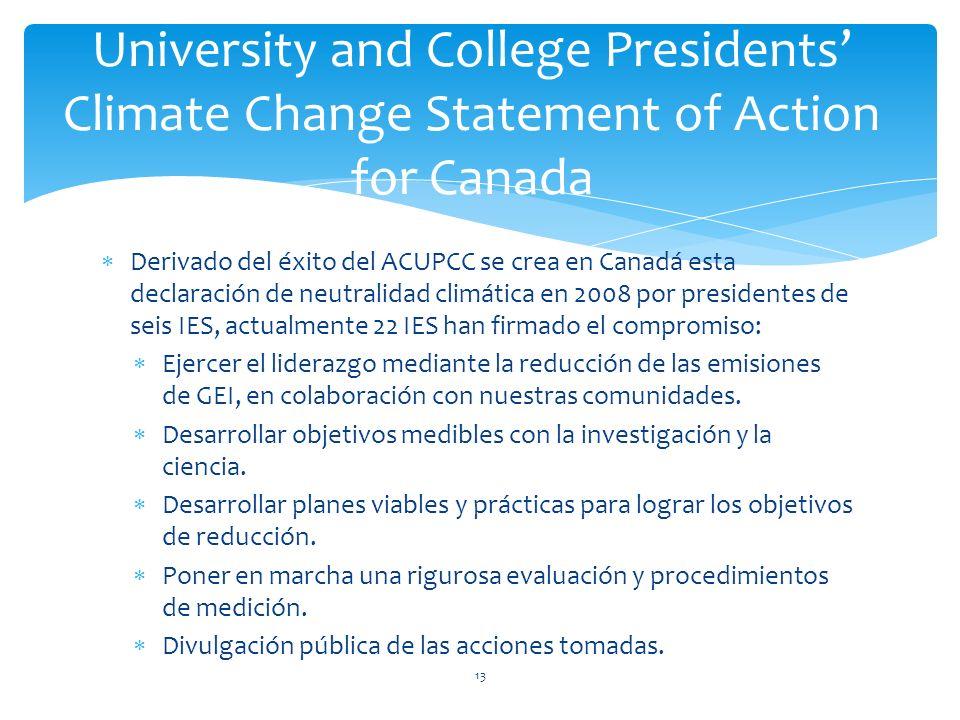 Derivado del éxito del ACUPCC se crea en Canadá esta declaración de neutralidad climática en 2008 por presidentes de seis IES, actualmente 22 IES han