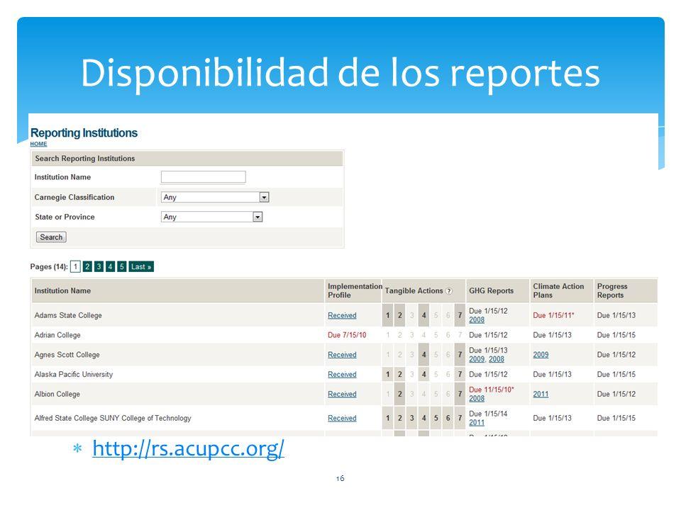 Disponibilidad de los reportes 16 http://rs.acupcc.org/