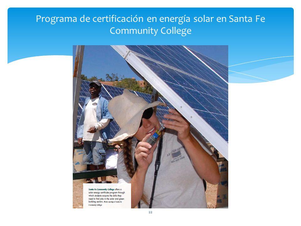 22 Programa de certificación en energía solar en Santa Fe Community College