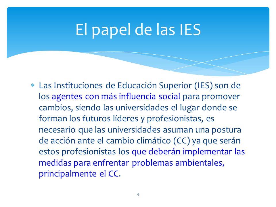 Las Instituciones de Educación Superior (IES) son de los agentes con más influencia social para promover cambios, siendo las universidades el lugar do