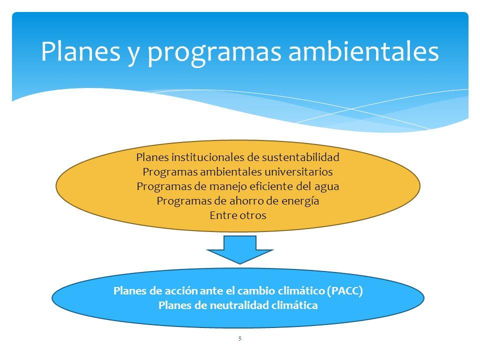 5 Planes y programas ambientales Planes de acción ante el cambio climático (PACC) Planes de neutralidad climática Planes institucionales de sustentabilidad Programas ambientales universitarios Programas de manejo eficiente del agua Programas de ahorro de energía Entre otros