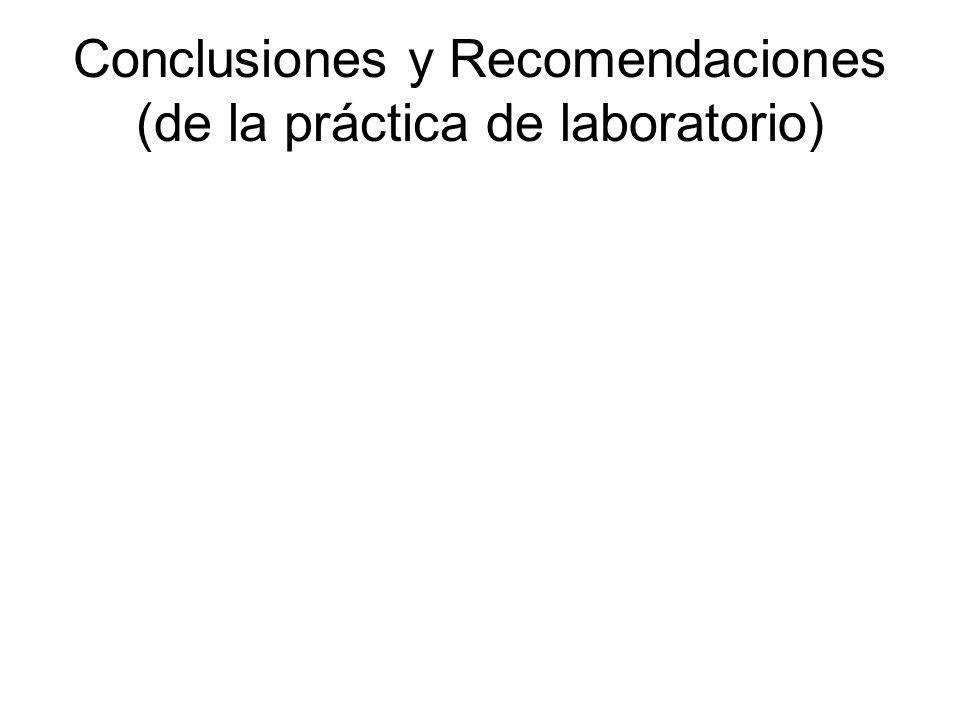 Conclusiones y Recomendaciones (de la práctica de laboratorio)
