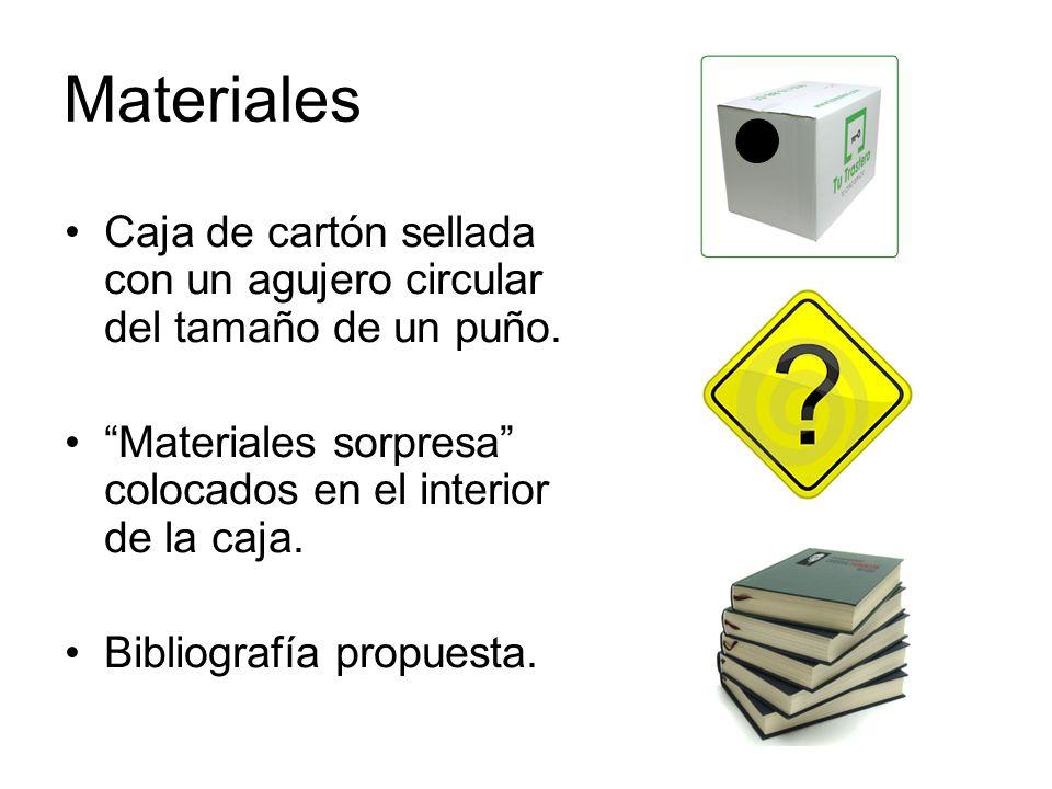 Materiales Caja de cartón sellada con un agujero circular del tamaño de un puño. Materiales sorpresa colocados en el interior de la caja. Bibliografía