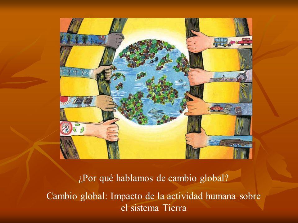 ¿Por qué hablamos de cambio global? Cambio global: Impacto de la actividad humana sobre el sistema Tierra