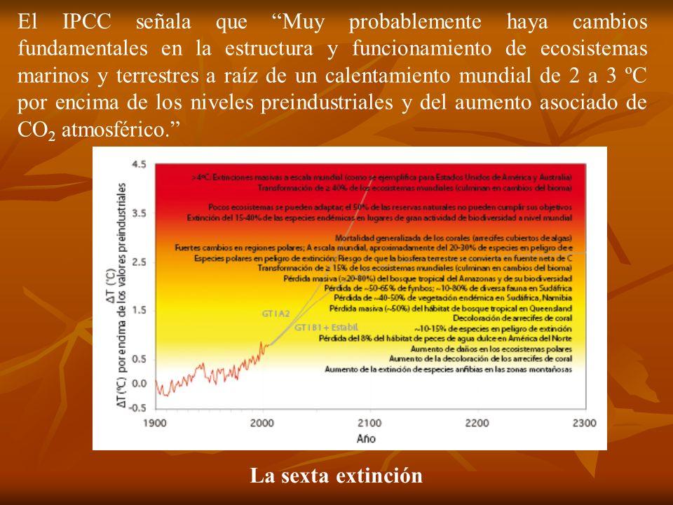 La sexta extinción El IPCC señala que Muy probablemente haya cambios fundamentales en la estructura y funcionamiento de ecosistemas marinos y terrestr