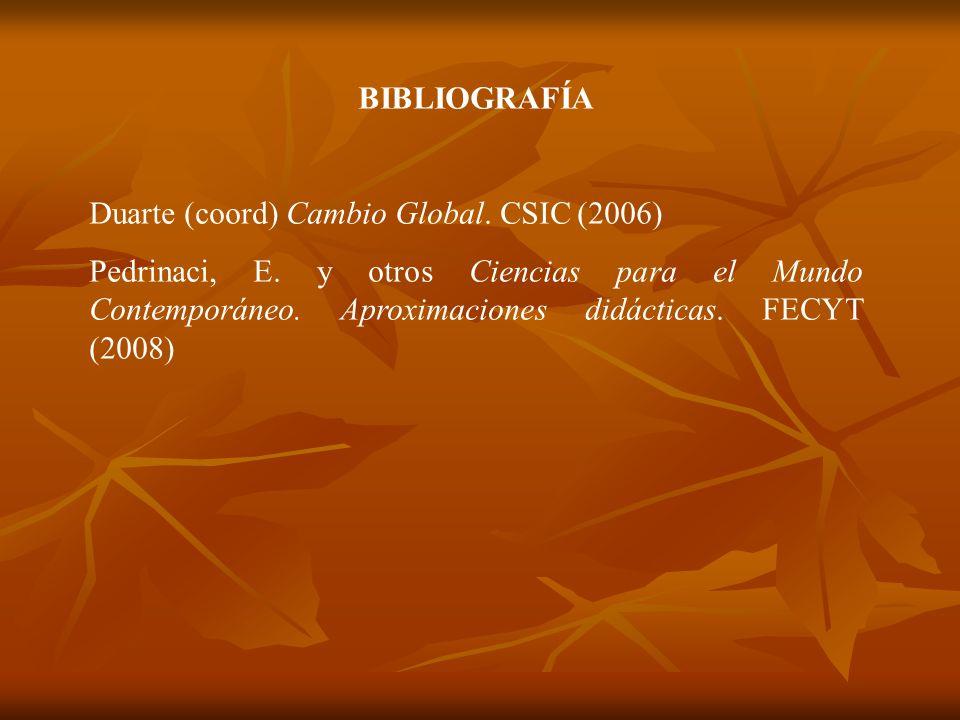 BIBLIOGRAFÍA Duarte (coord) Cambio Global. CSIC (2006) Pedrinaci, E. y otros Ciencias para el Mundo Contemporáneo. Aproximaciones didácticas. FECYT (2