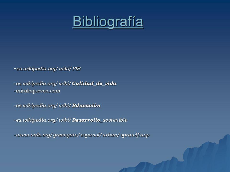 Bibliografía - es.wikipedia.org/wiki/PIB - es.wikipedia.org/wiki/ Calidad_de_vida -miraloqueveo.com - es.wikipedia.org/wiki/ Educación - es.wikipedia.org/wiki/ Desarrollo _sostenible - www.nrdc.org/greengate/espanol/urban/sprawlf.asp