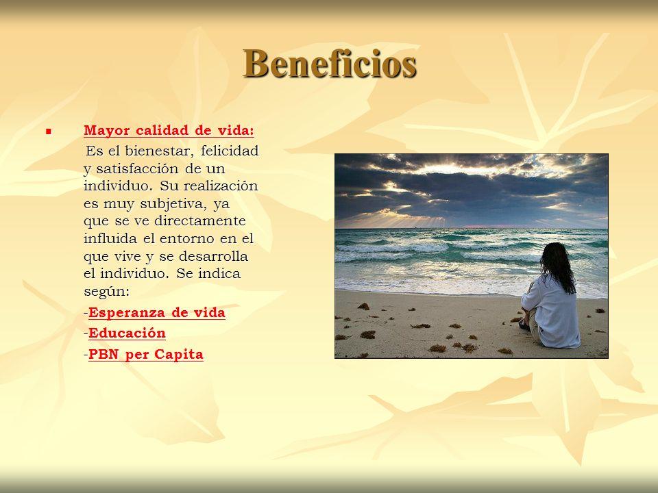 Beneficios Mayor calidad de vida: Mayor calidad de vida: Mayor calidad de vida: Mayor calidad de vida: Es el bienestar, felicidad y satisfacción de un individuo.