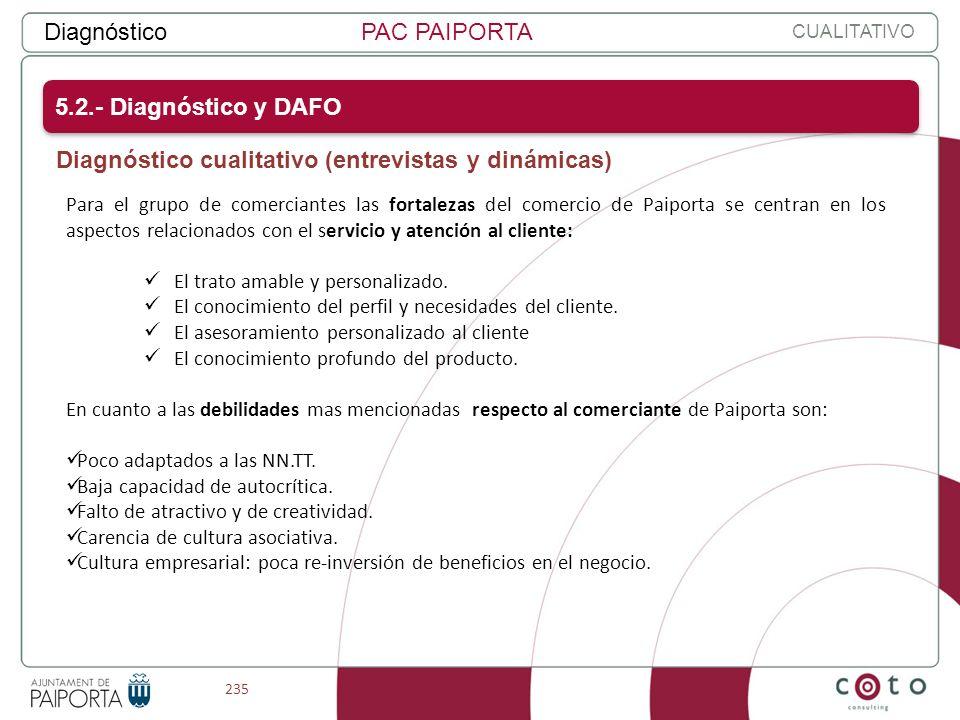 235 DiagnósticoPAC PAIPORTA Para el grupo de comerciantes las fortalezas del comercio de Paiporta se centran en los aspectos relacionados con el servi