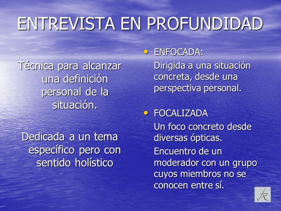 ENTREVISTA EN PROFUNDIDAD ENFOCADA: ENFOCADA: Dirigida a una situación concreta, desde una perspectiva personal. FOCALIZADA FOCALIZADA Un foco concret