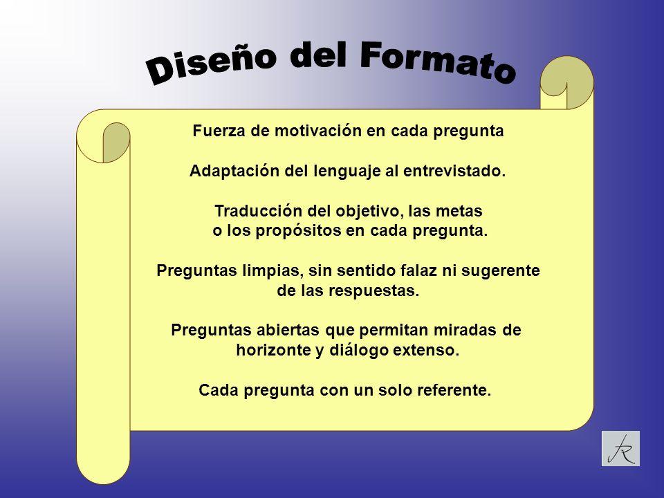 Fuerza de motivación en cada pregunta Adaptación del lenguaje al entrevistado. Traducción del objetivo, las metas o los propósitos en cada pregunta. P