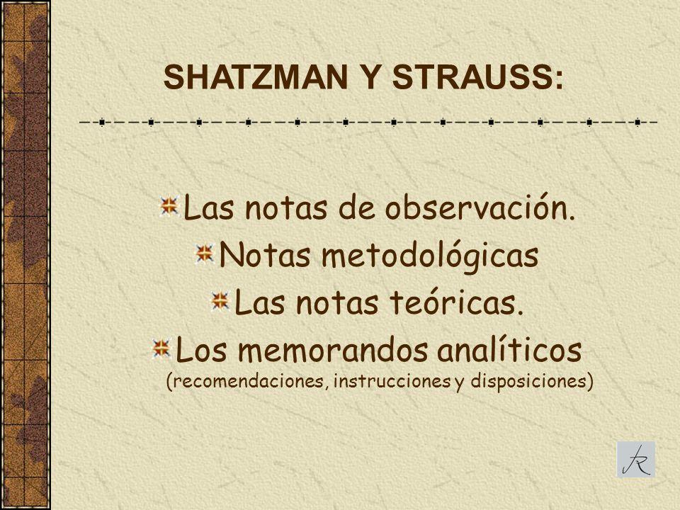 Las notas de observación. Notas metodológicas Las notas teóricas. Los memorandos analíticos (recomendaciones, instrucciones y disposiciones) SHATZMAN