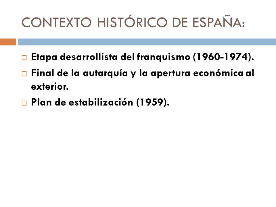 CONTEXTO HISTÓRICO DE ESPAÑA: Etapa desarrollista del franquismo (1960-1974). Final de la autarquía y la apertura económica al exterior. Plan de estab
