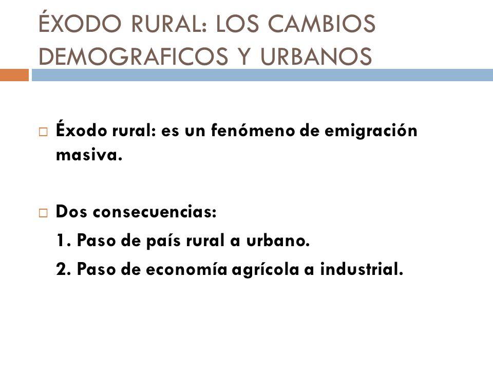ÉXODO RURAL: LOS CAMBIOS DEMOGRAFICOS Y URBANOS Éxodo rural: es un fenómeno de emigración masiva. Dos consecuencias: 1. Paso de país rural a urbano. 2
