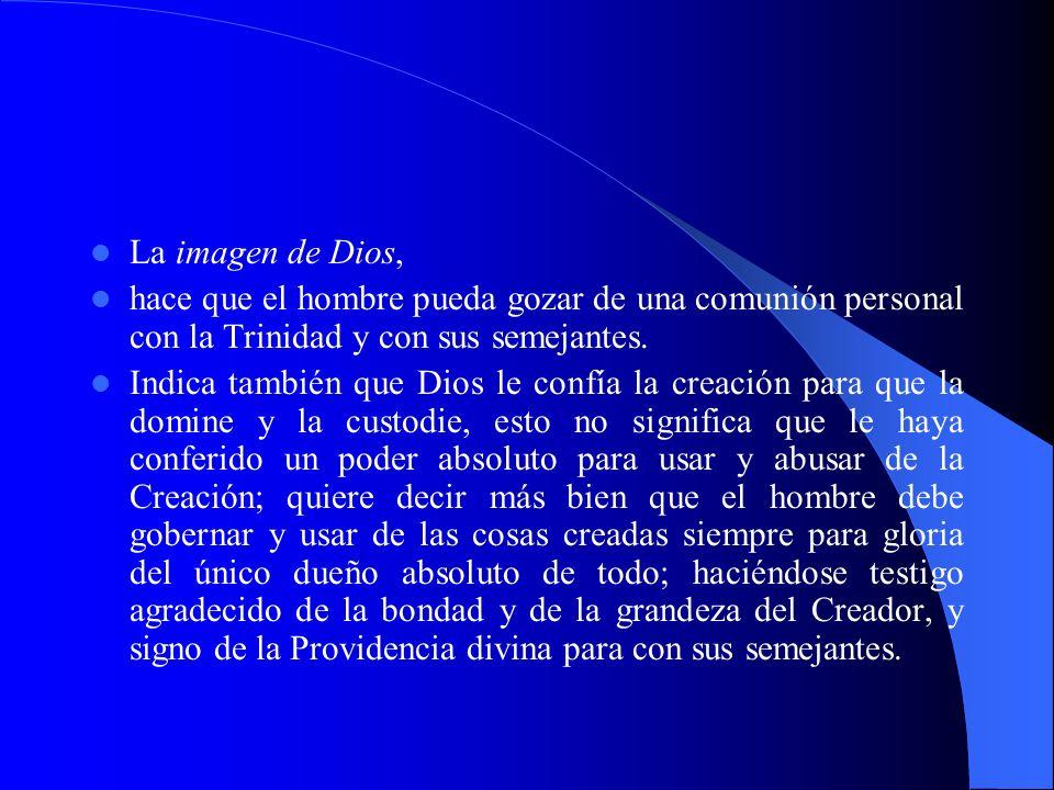 La imagen de Dios, hace que el hombre pueda gozar de una comunión personal con la Trinidad y con sus semejantes. Indica también que Dios le confía la