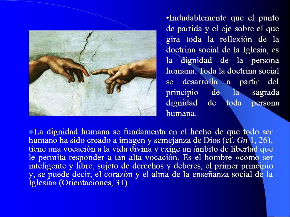 La dignidad humana se fundamenta en el hecho de que todo ser humano ha sido creado a imagen y semejanza de Dios (cf. Gn 1, 26), tiene una vocación a l