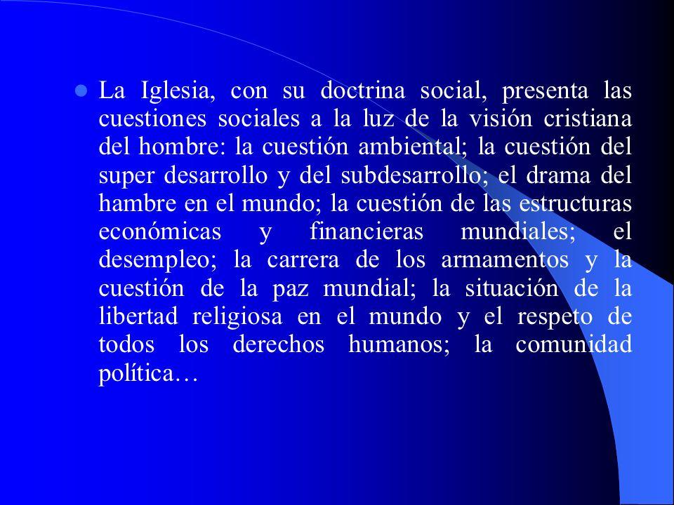 La Iglesia, con su doctrina social, presenta las cuestiones sociales a la luz de la visión cristiana del hombre: la cuestión ambiental; la cuestión de