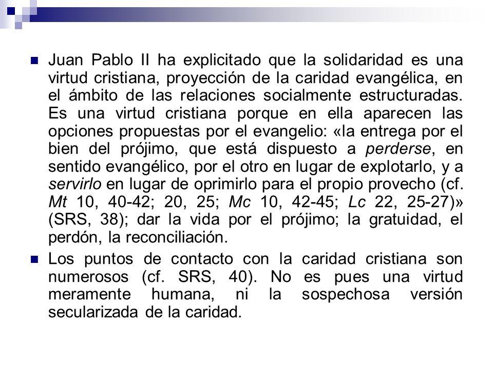 La solidaridad, presentada como virtud por Juan Pablo II, es propuesta como la respuesta apropiada para favorecer la consecución del bien común y lleg