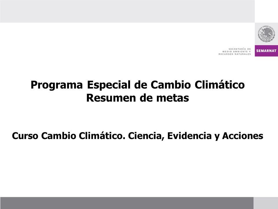 Programa Especial de Cambio Climático Resumen de metas Curso Cambio Climático. Ciencia, Evidencia y Acciones