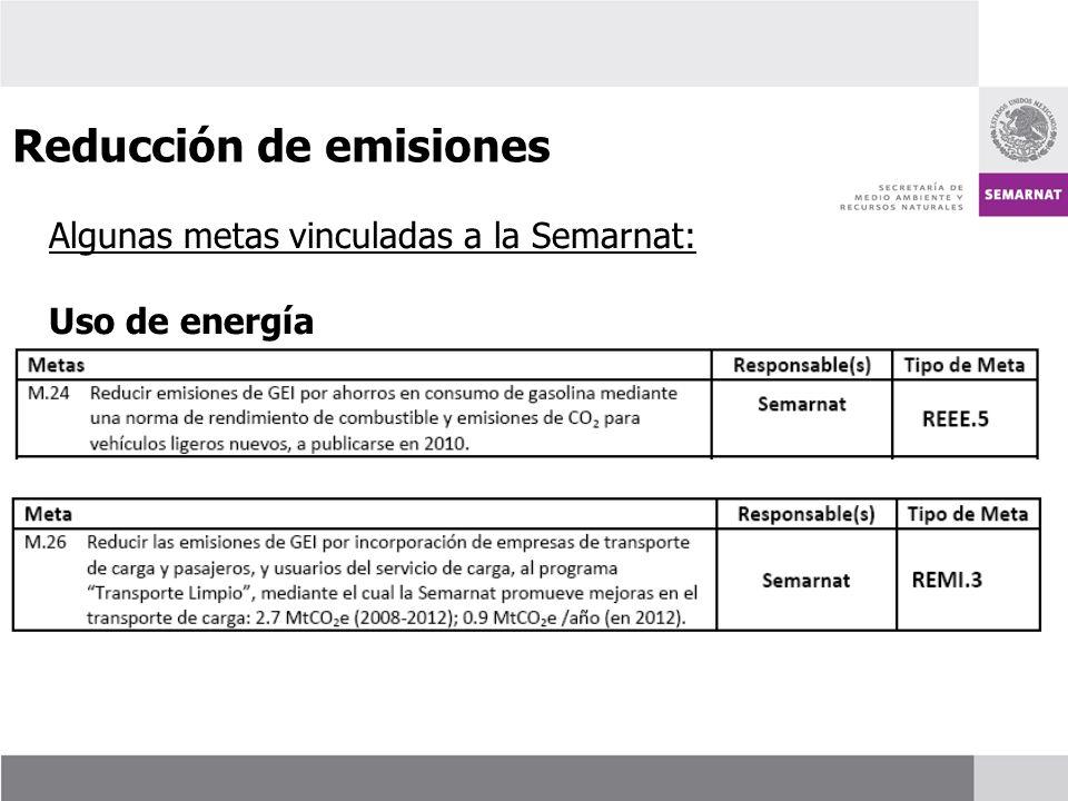 Algunas metas vinculadas a la Semarnat: Uso de energía Reducción de emisiones