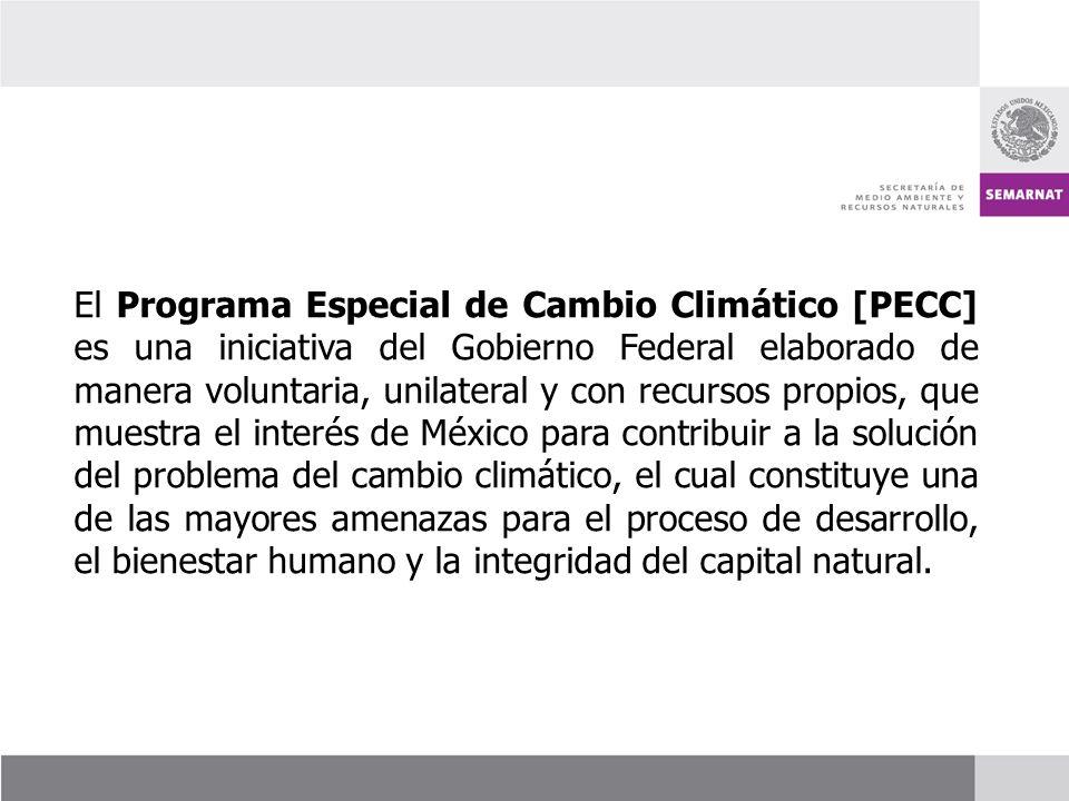 El Programa Especial de Cambio Climático [PECC] es una iniciativa del Gobierno Federal elaborado de manera voluntaria, unilateral y con recursos propi