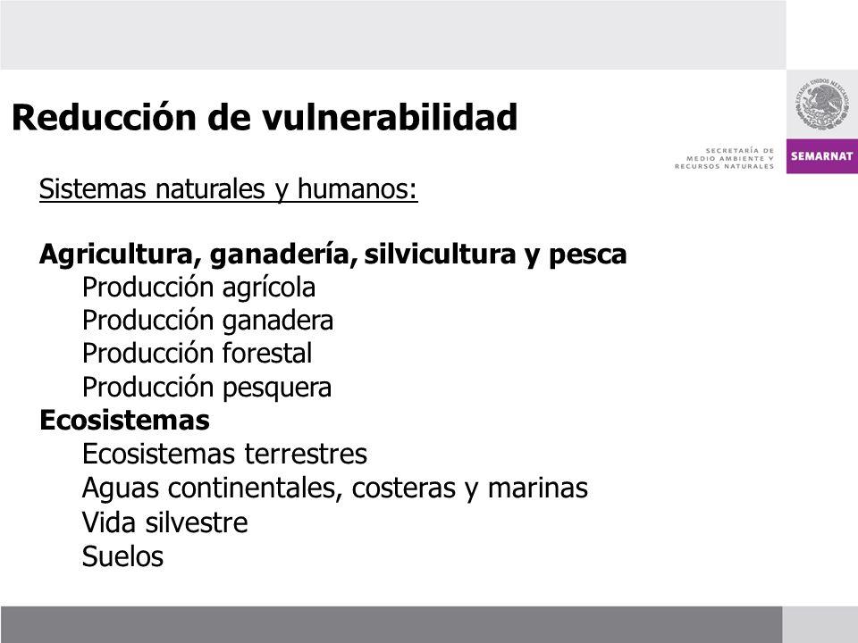 Sistemas naturales y humanos: Agricultura, ganadería, silvicultura y pesca Producción agrícola Producción ganadera Producción forestal Producción pesq