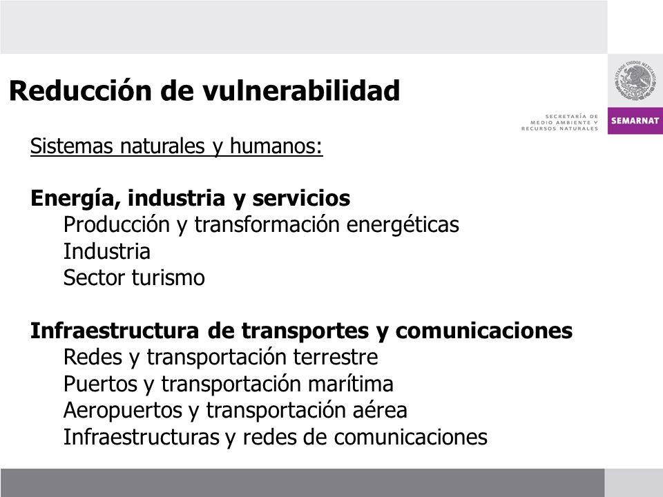 Sistemas naturales y humanos: Energía, industria y servicios Producción y transformación energéticas Industria Sector turismo Infraestructura de trans