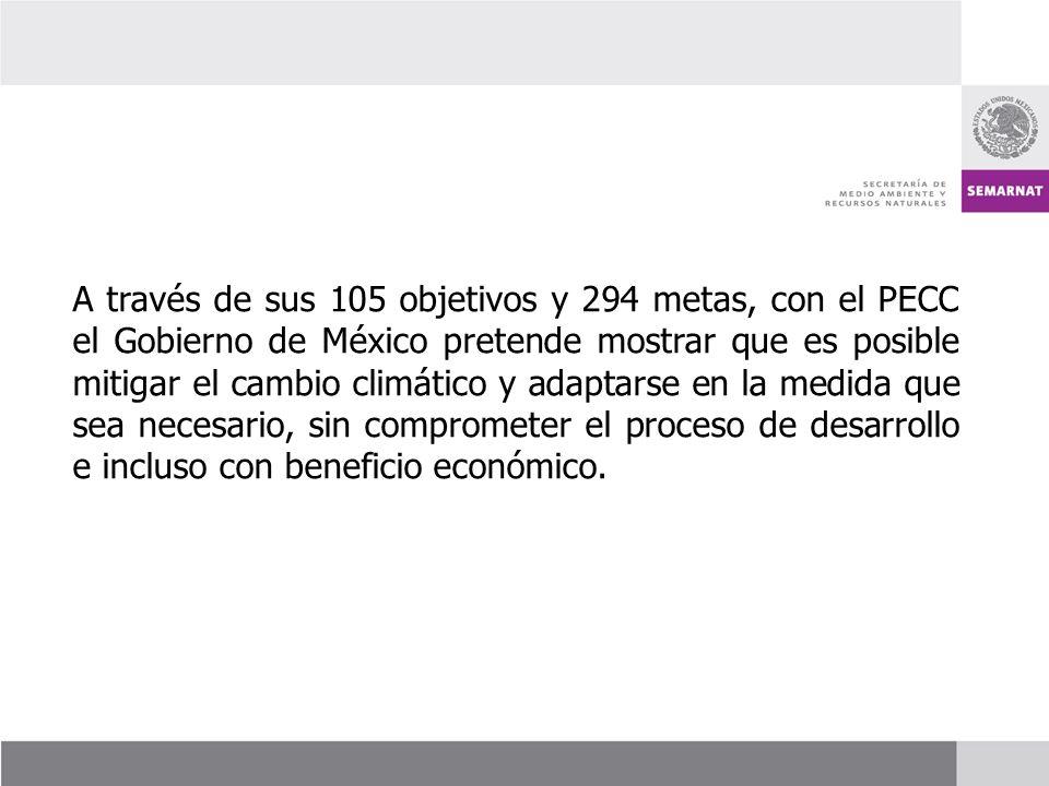 A través de sus 105 objetivos y 294 metas, con el PECC el Gobierno de México pretende mostrar que es posible mitigar el cambio climático y adaptarse e
