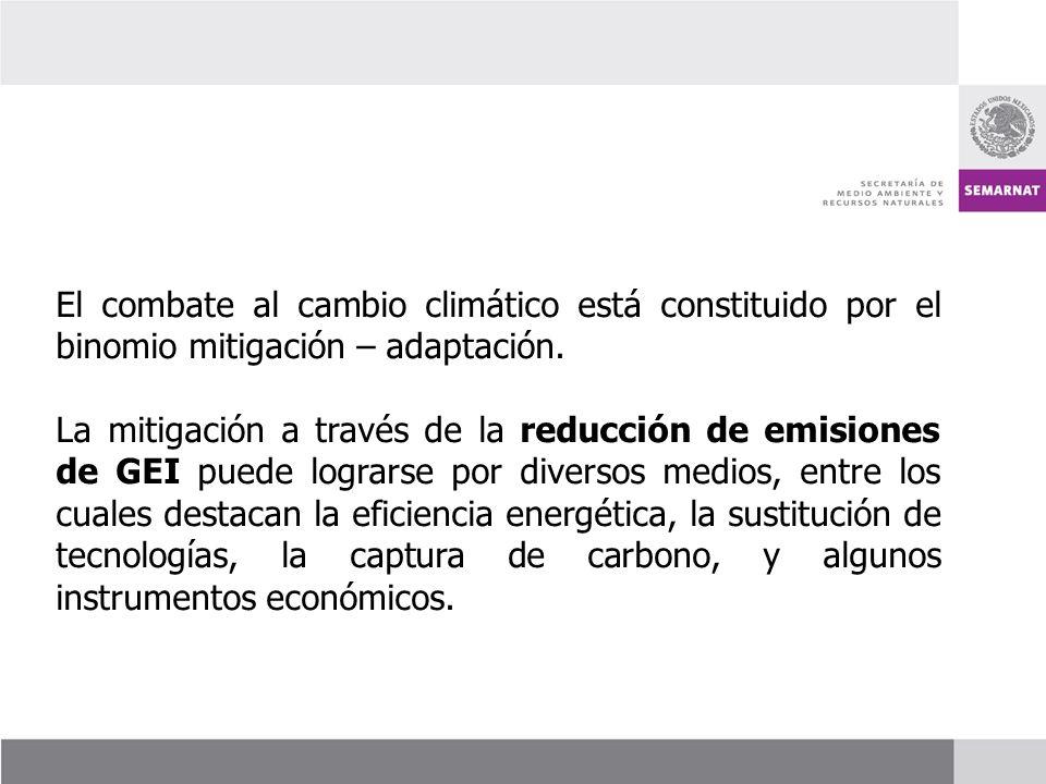 El combate al cambio climático está constituido por el binomio mitigación – adaptación. La mitigación a través de la reducción de emisiones de GEI pue