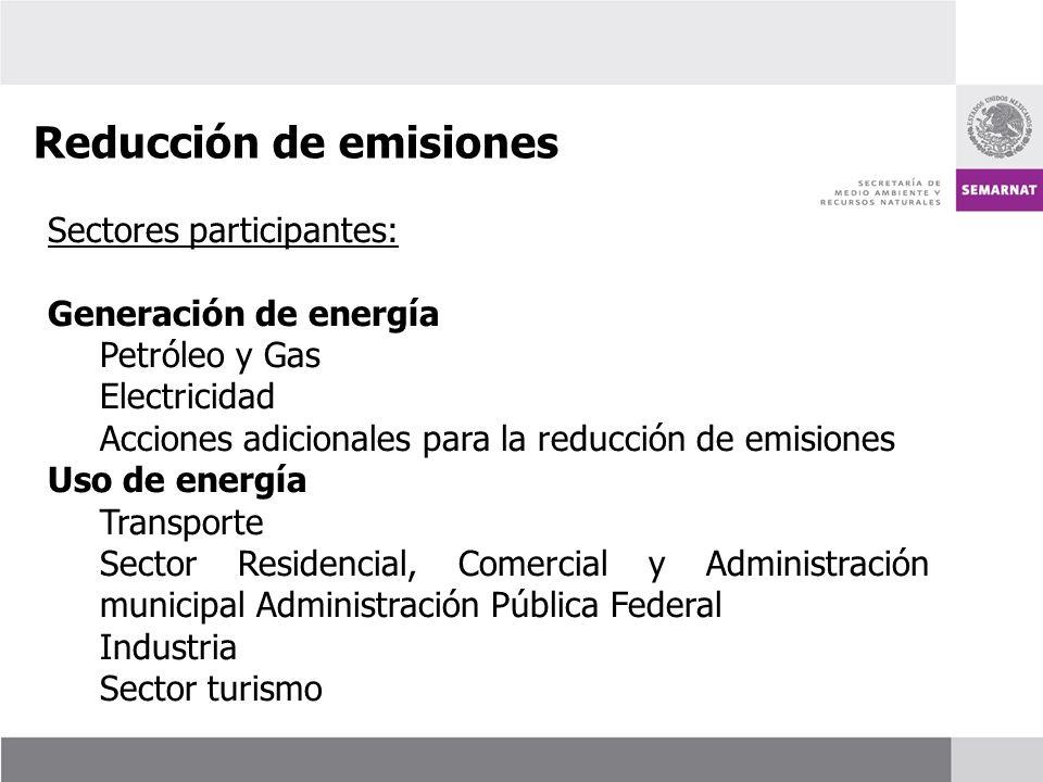 Sectores participantes: Generación de energía Petróleo y Gas Electricidad Acciones adicionales para la reducción de emisiones Uso de energía Transport