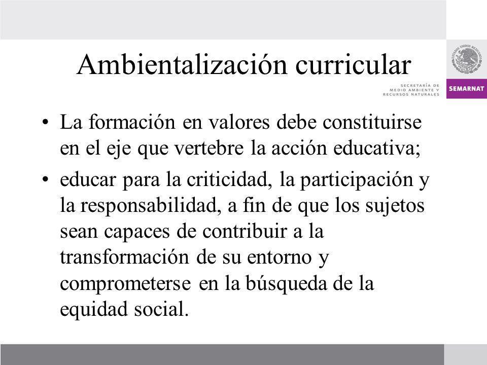 Ambientalización curricular La formación en valores debe constituirse en el eje que vertebre la acción educativa; educar para la criticidad, la partic