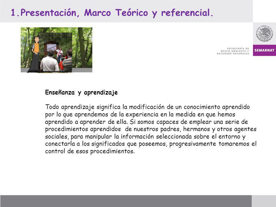 1.Presentación, Marco Teórico y referencial. Enseñanza y aprendizaje Todo aprendizaje significa la modificación de un conocimiento aprendido por lo qu