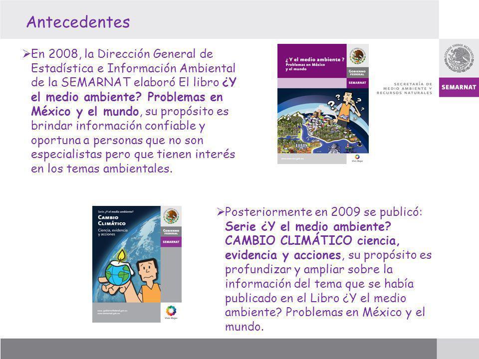 Antecedentes En 2008, la Dirección General de Estadística e Información Ambiental de la SEMARNAT elaboró El libro ¿Y el medio ambiente? Problemas en M