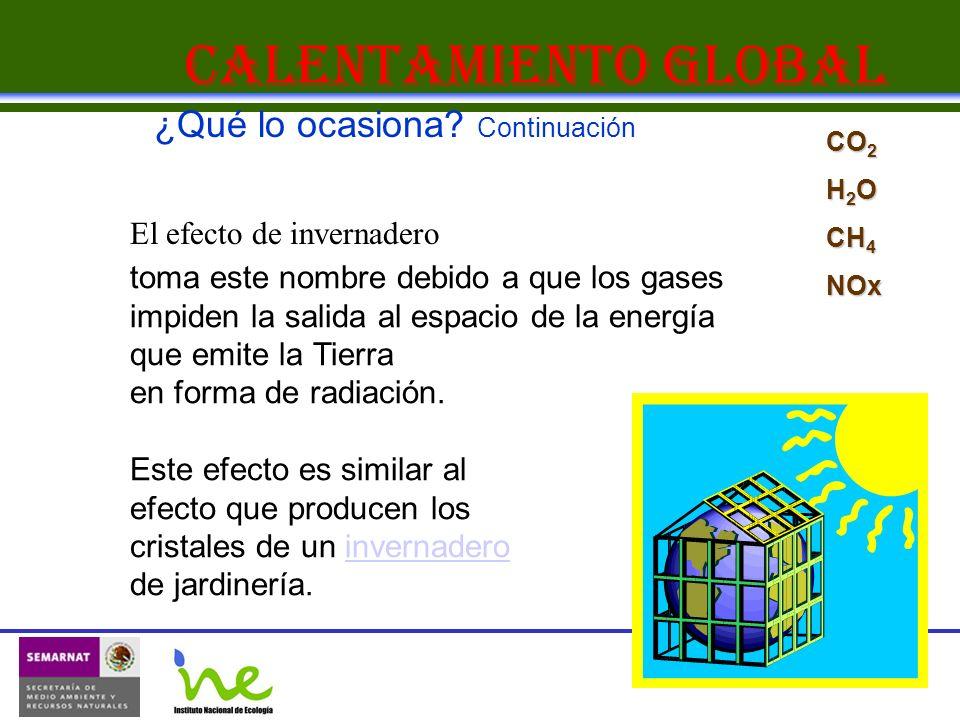 Calentamiento Global toma este nombre debido a que los gases impiden la salida al espacio de la energía que emite la Tierra en forma de radiación. Est