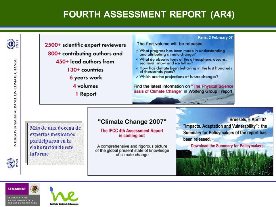 FOURTH ASSESSMENT REPORT (AR4) Más de una docena de expertos mexicanos participaron en la elaboración de este informe