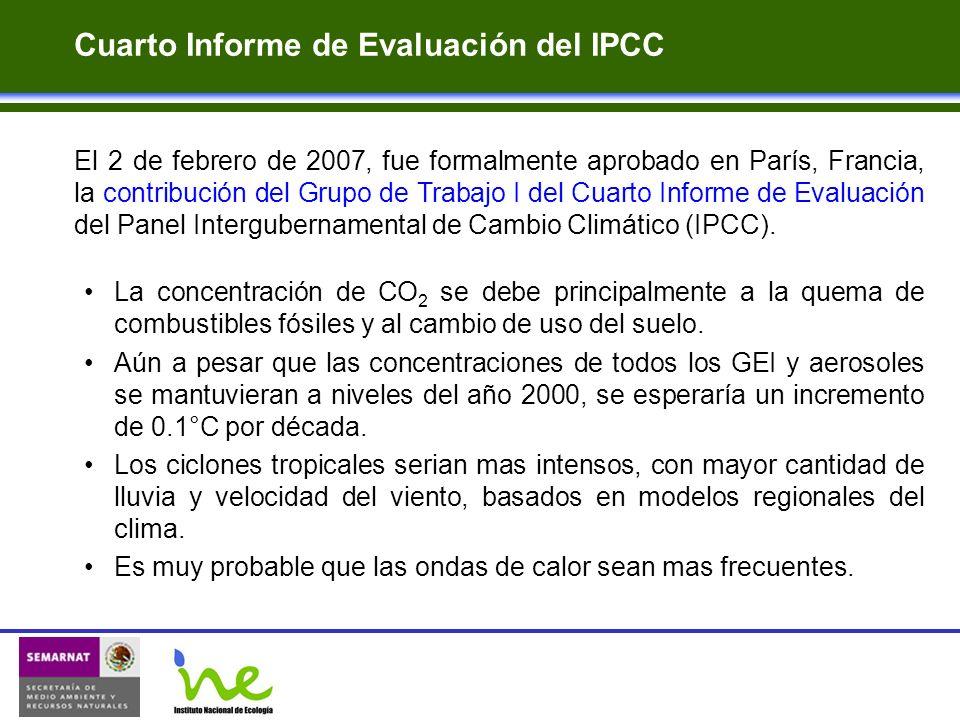 Cuarto Informe de Evaluación del IPCC El 2 de febrero de 2007, fue formalmente aprobado en París, Francia, la contribución del Grupo de Trabajo I del