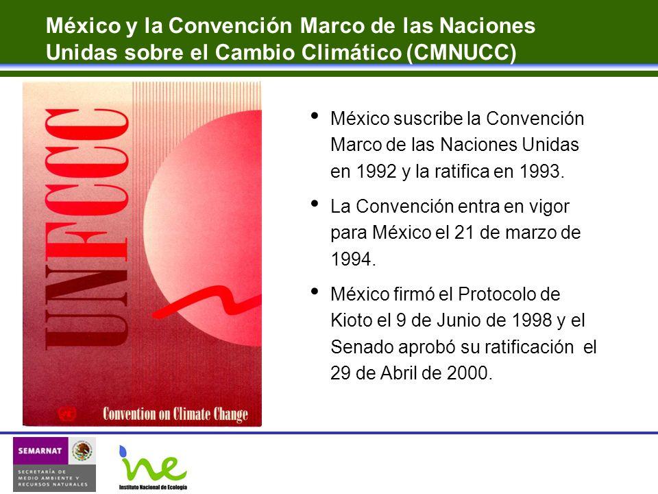 México y la Convención Marco de las Naciones Unidas sobre el Cambio Climático (CMNUCC) México suscribe la Convención Marco de las Naciones Unidas en 1