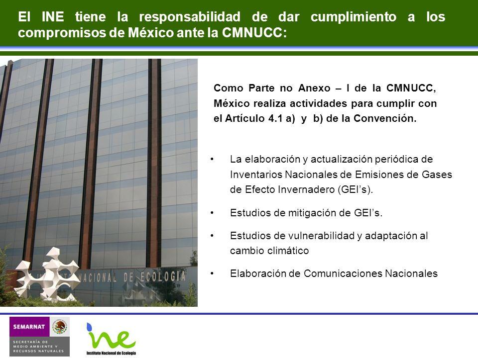 Como Parte no Anexo – I de la CMNUCC, México realiza actividades para cumplir con el Artículo 4.1 a) y b) de la Convención. La elaboración y actualiza