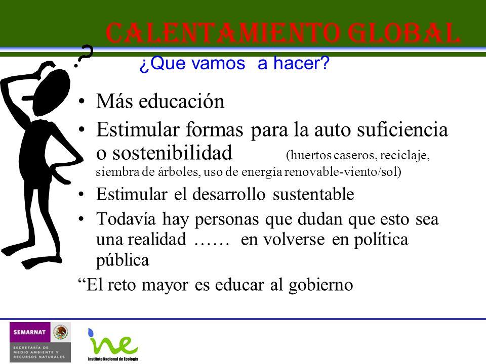 Calentamiento Global Más educación Estimular formas para la auto suficiencia o sostenibilidad (huertos caseros, reciclaje, siembra de árboles, uso de