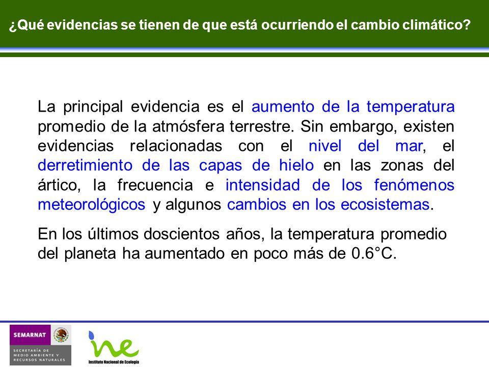 La principal evidencia es el aumento de la temperatura promedio de la atmósfera terrestre. Sin embargo, existen evidencias relacionadas con el nivel d