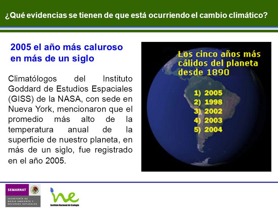 2005 el año más caluroso en más de un siglo Climatólogos del Instituto Goddard de Estudios Espaciales (GISS) de la NASA, con sede en Nueva York, menci
