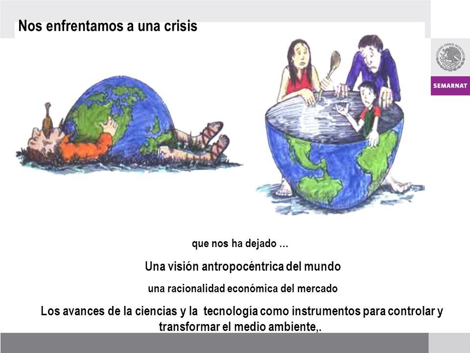 Nos enfrentamos a una crisis que nos ha dejado … Una visión antropocéntrica del mundo una racionalidad económica del mercado Los avances de la ciencias y la tecnología como instrumentos para controlar y transformar el medio ambiente,.