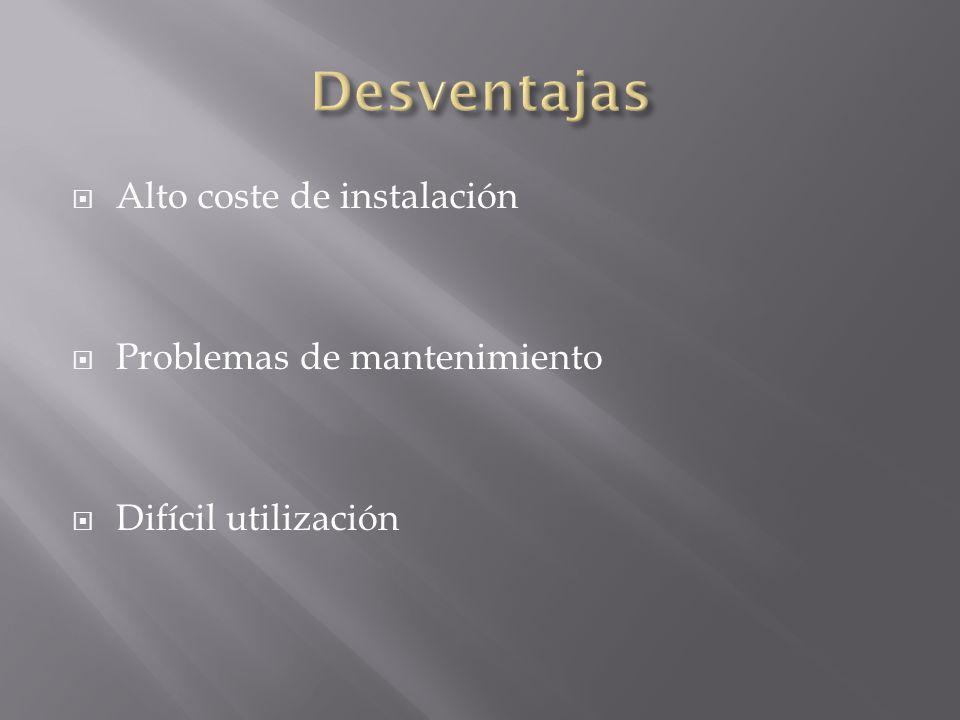 Alto coste de instalación Problemas de mantenimiento Difícil utilización